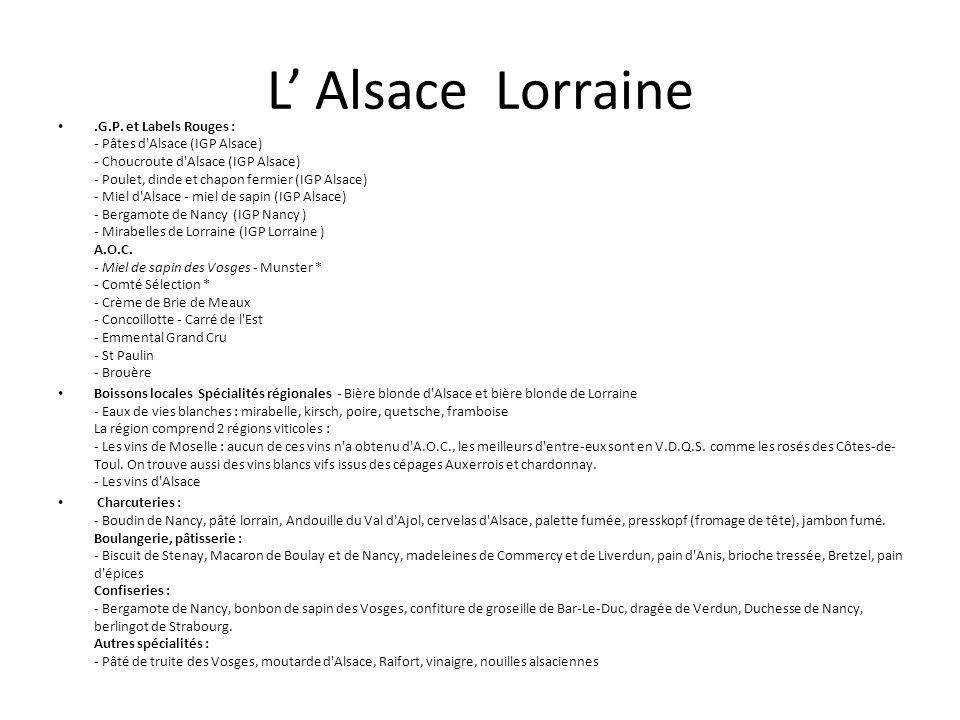 L Alsace Lorraine.G.P. et Labels Rouges : - Pâtes d'Alsace (IGP Alsace) - Choucroute d'Alsace (IGP Alsace) - Poulet, dinde et chapon fermier (IGP Alsa