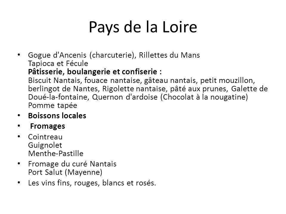 Pays de la Loire Gogue d'Ancenis (charcuterie), Rillettes du Mans Tapioca et Fécule Pâtisserie, boulangerie et confiserie : Biscuit Nantais, fouace na