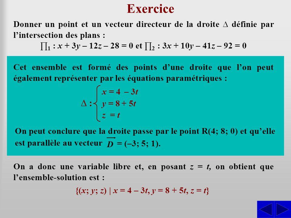 Exercice Donner un point et un vecteur directeur de la droite définie par lintersection des plans : 1 : x + 3y – 12z – 28 = 0 et 2 : 3x + 10y – 41z –