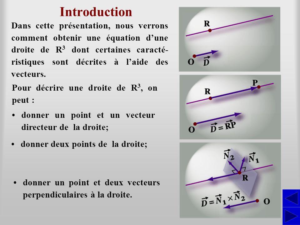 Introduction Dans cette présentation, nous verrons comment obtenir une équation dune droite de R 3 dont certaines caracté- ristiques sont décrites à l