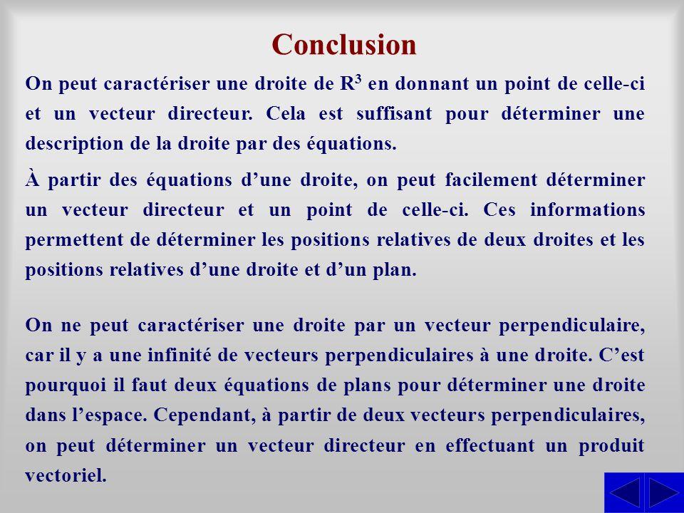 Conclusion On peut caractériser une droite de R 3 en donnant un point de celle-ci et un vecteur directeur. Cela est suffisant pour déterminer une desc