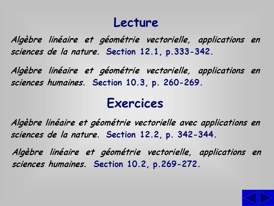 Lecture Algèbre linéaire et géométrie vectorielle, applications en sciences de la nature. Section 12.1, p.333-342. Algèbre linéaire et géométrie vecto