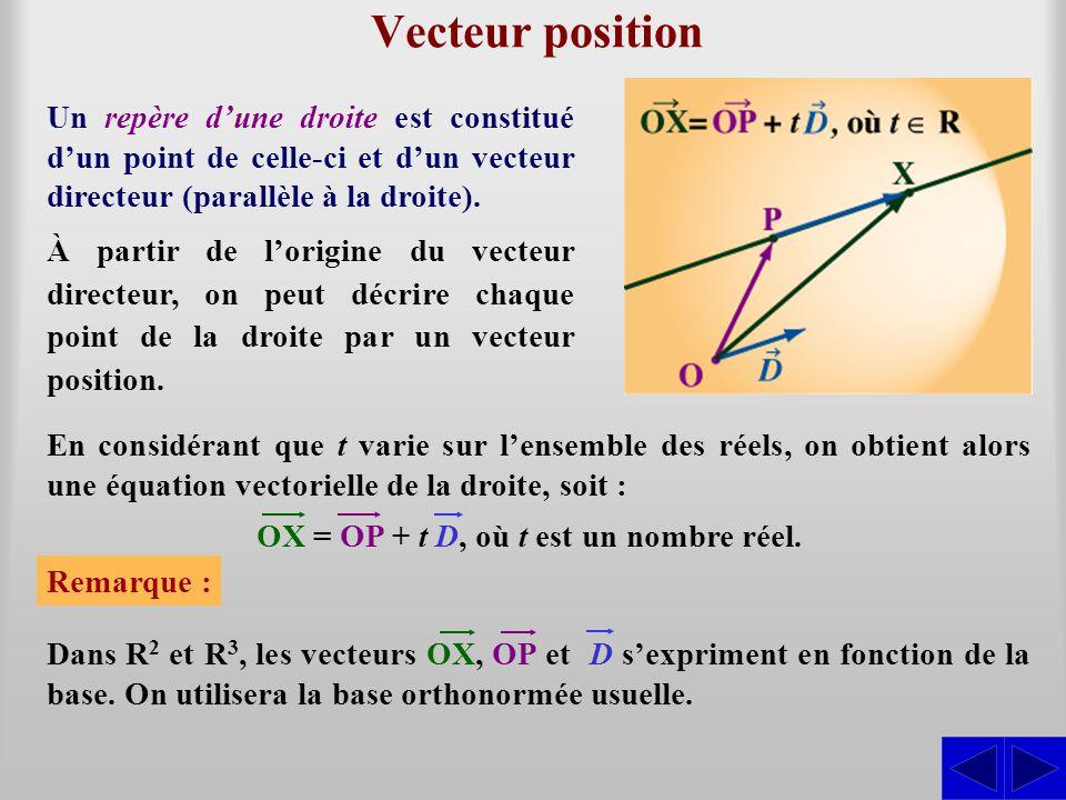 Vecteur position Un repère dune droite est constitué dun point de celle-ci et dun vecteur directeur (parallèle à la droite). À partir de lorigine du v