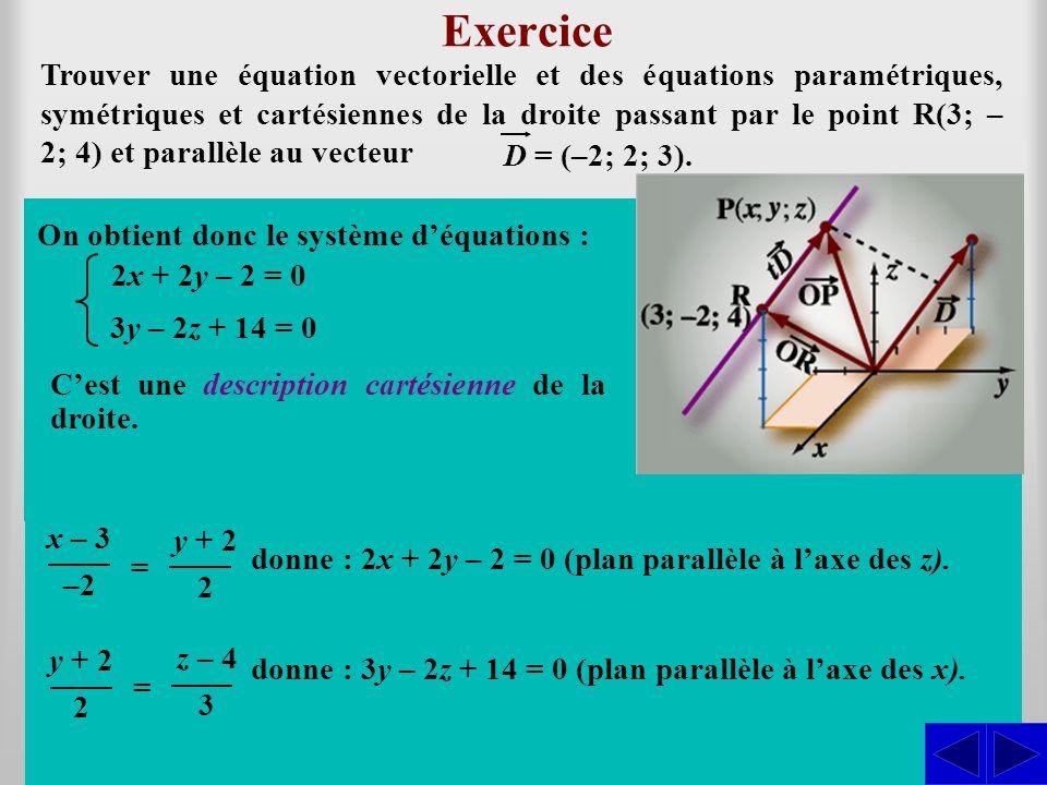 Exercice En considérant les vecteurs algébriques dans la base usuelle, on a léquation vectorielle : Trouver une équation vectorielle et des équations