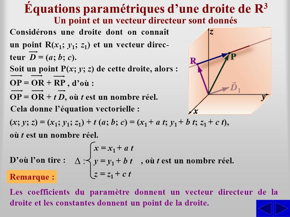 Équations paramétriques dune droite de R 3 Considérons une droite dont on connaît un point R(x 1 ; y 1 ; z 1 ) et un vecteur direc- teur D = (a; b; c)