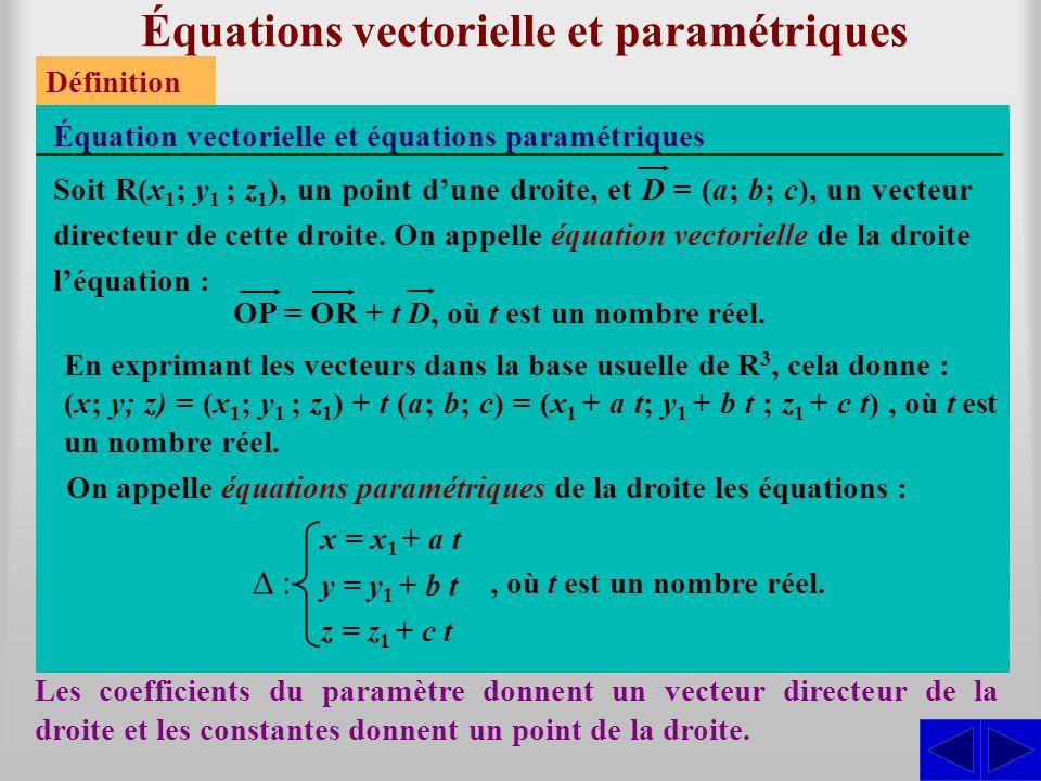 Équations vectorielle et paramétriques Les coefficients du paramètre donnent un vecteur directeur de la droite et les constantes donnent un point de l