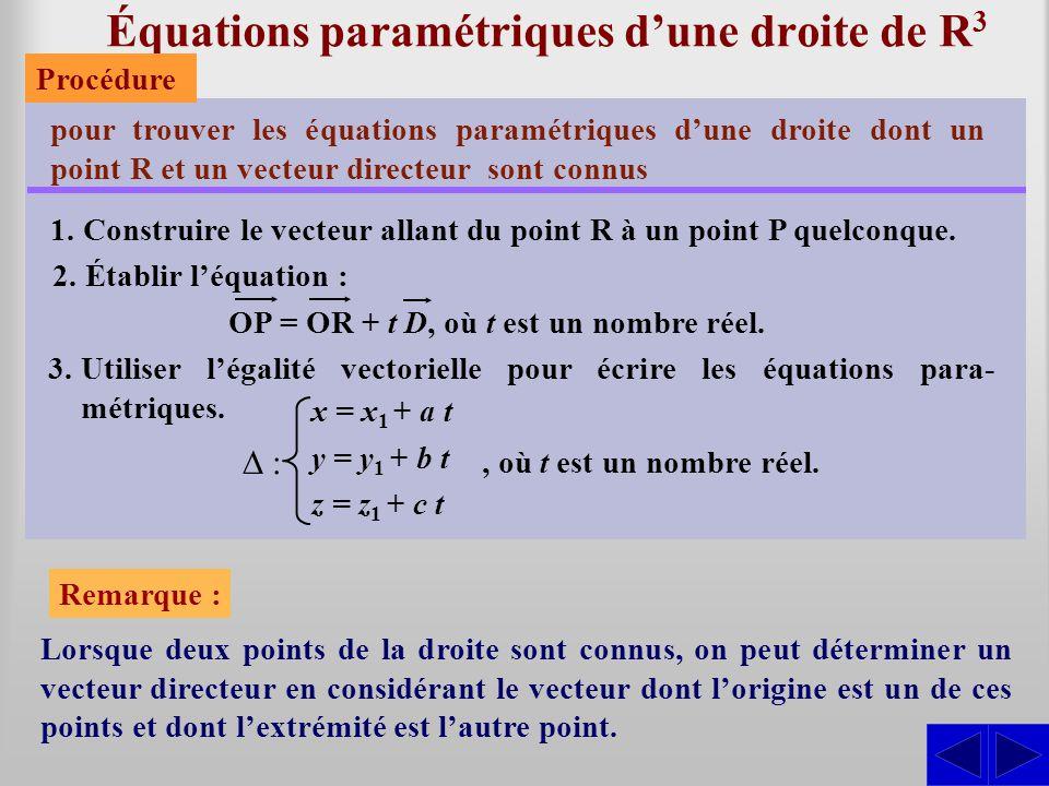 Équations paramétriques dune droite de R 3 pour trouver les équations paramétriques dune droite dont un point R et un vecteur directeur sont connus 1.