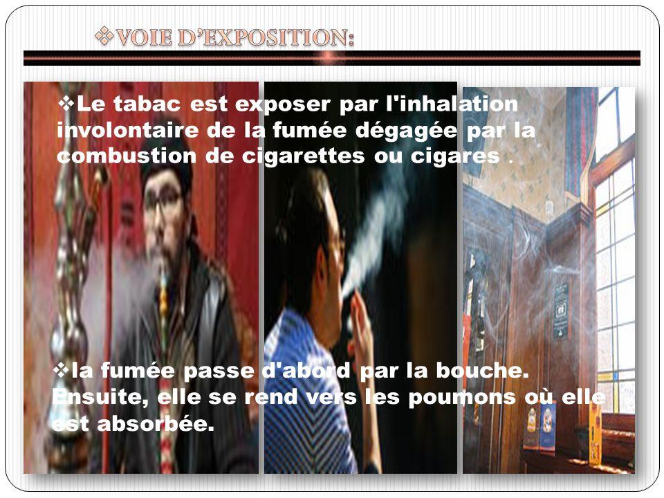 Le tabac est exposer par l inhalation involontaire de la fumée dégagée par la combustion de cigarettes ou cigares.