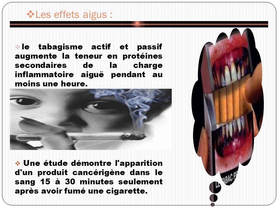 Les effets aigus : le tabagisme actif et passif augmente la teneur en protéines secondaires de la charge inflammatoire aiguë pendant au moins une heure.