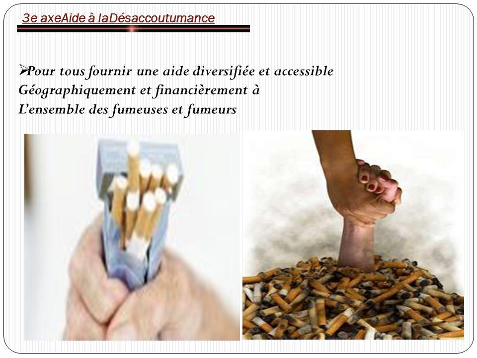 3e axeAide à laDésaccoutumance Pour tous fournir une aide diversifiée et accessible Géographiquement et financièrement à Lensemble des fumeuses et fumeurs