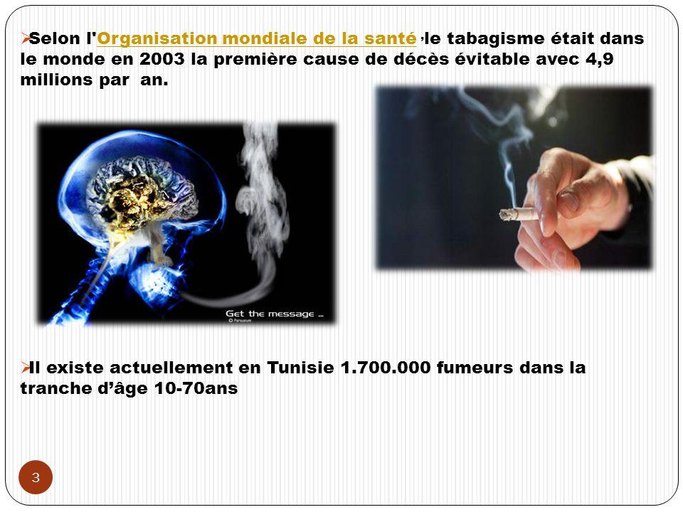 Selon l Organisation mondiale de la santé, le tabagisme était dans le monde en 2003 la première cause de décès évitable avec 4,9 millions par an.Organisation mondiale de la santé Il existe actuellement en Tunisie 1.700.000 fumeurs dans la tranche dâge 10-70ans 3
