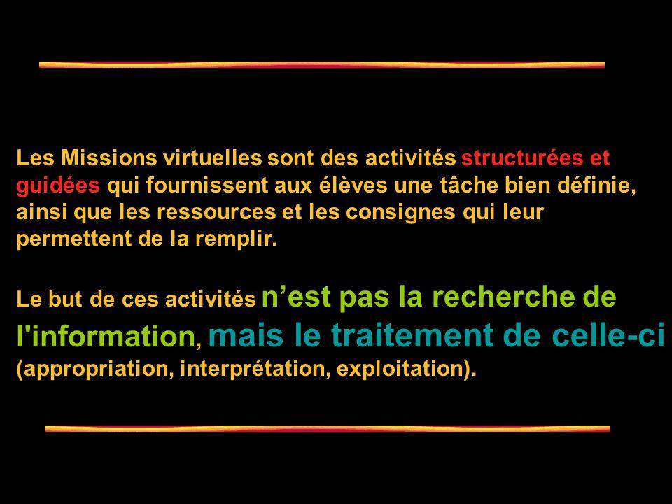 Une mission virtuelle est une activité basée sur l esprit d investigation dans laquelle une partie ou la totalité de l information traitée par les apprenants vient des ressources de lInternet [...] « Puisque les ressources web font partie intégrante de la mission, l apprenant n est pas laissé à la dérive dans l immensité du cyber-espace.