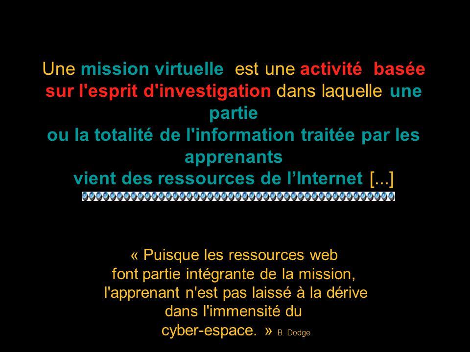 La structure d une mission virtuelle Dodge définit ainsi les six éléments essentiels d une mission virtuelle complète: 1) l introduction - il s agit non seulement d orienter l élève mais aussi de capter son intérêt.