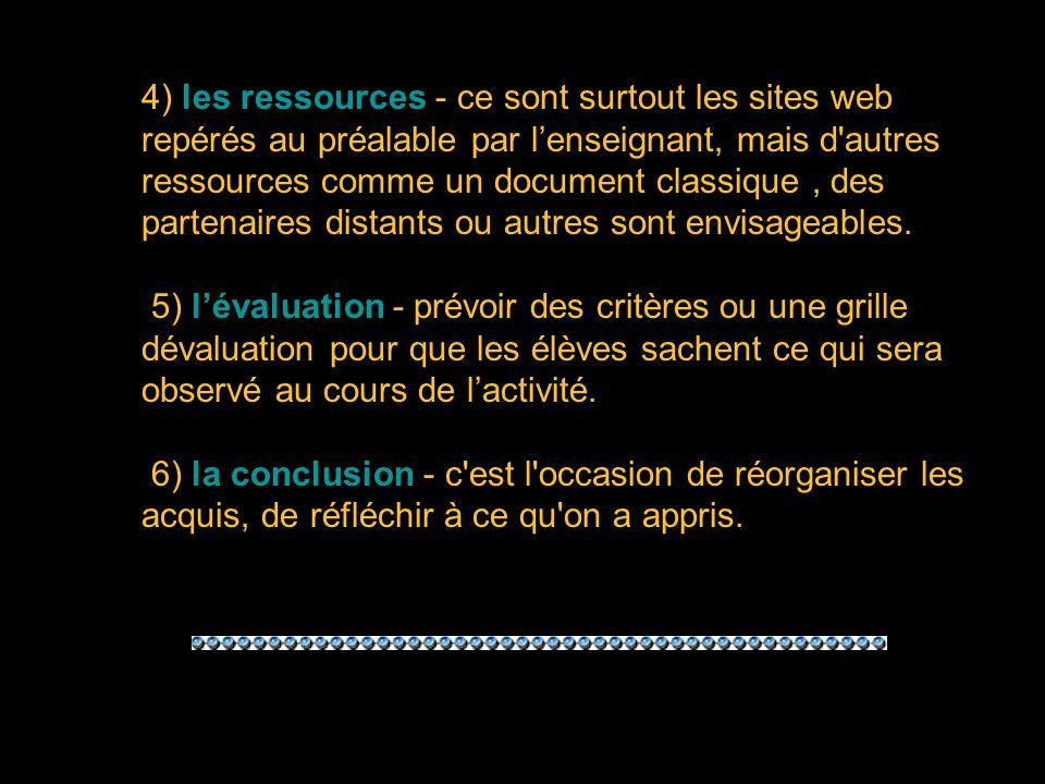 4) les ressources - ce sont surtout les sites web repérés au préalable par lenseignant, mais d autres ressources comme un document classique, des partenaires distants ou autres sont envisageables.