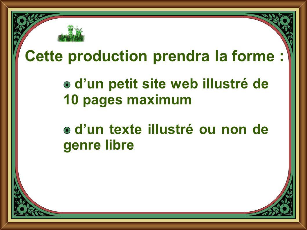 Cette production prendra la forme : dun petit site web illustré de 10 pages maximum dun texte illustré ou non de genre libre