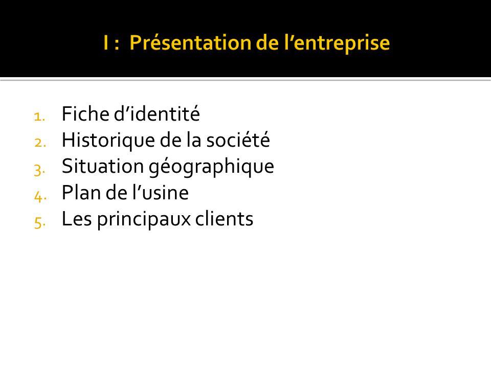 1. Fiche didentité 2. Historique de la société 3. Situation géographique 4. Plan de lusine 5. Les principaux clients