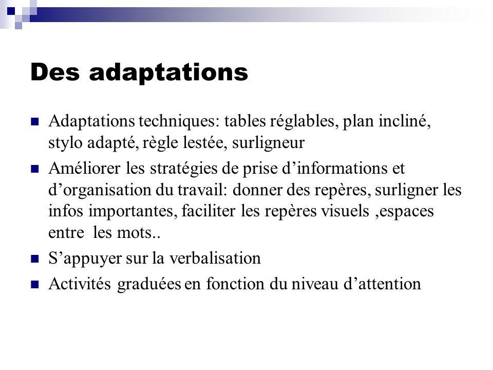 Des adaptations Adaptations techniques: tables réglables, plan incliné, stylo adapté, règle lestée, surligneur Améliorer les stratégies de prise dinfo