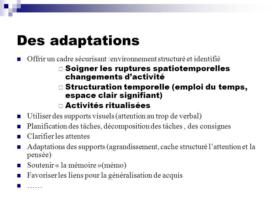 Des adaptations Offrir un cadre sécurisant :environnement structuré et identifié Soigner les ruptures spatiotemporelles changements dactivité Structur