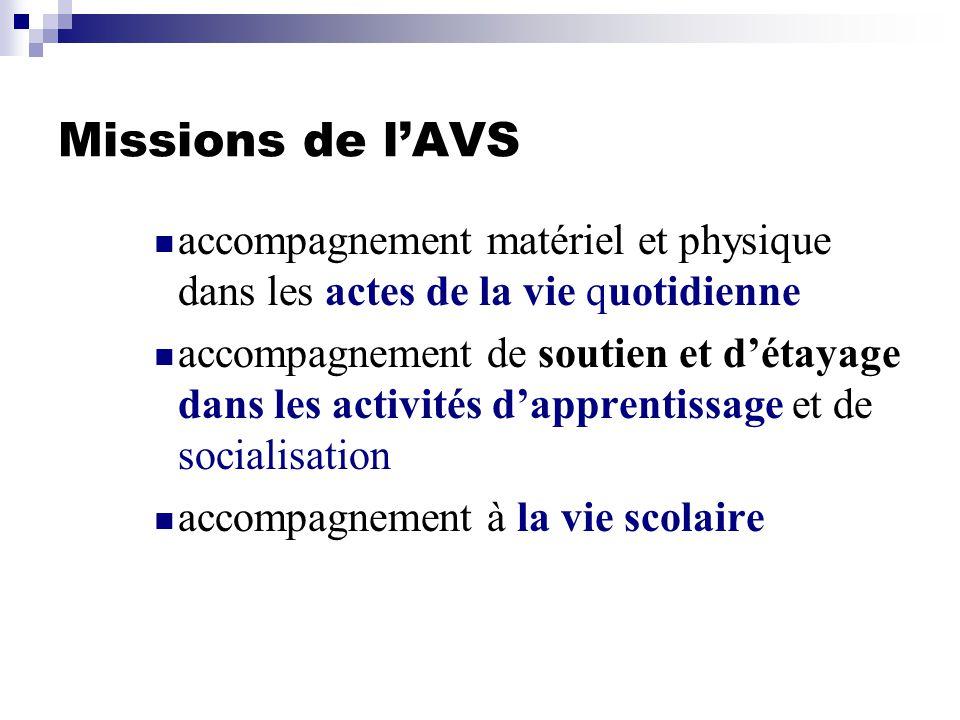 Missions de lAVS accompagnement matériel et physique dans les actes de la vie quotidienne accompagnement de soutien et détayage dans les activités dap