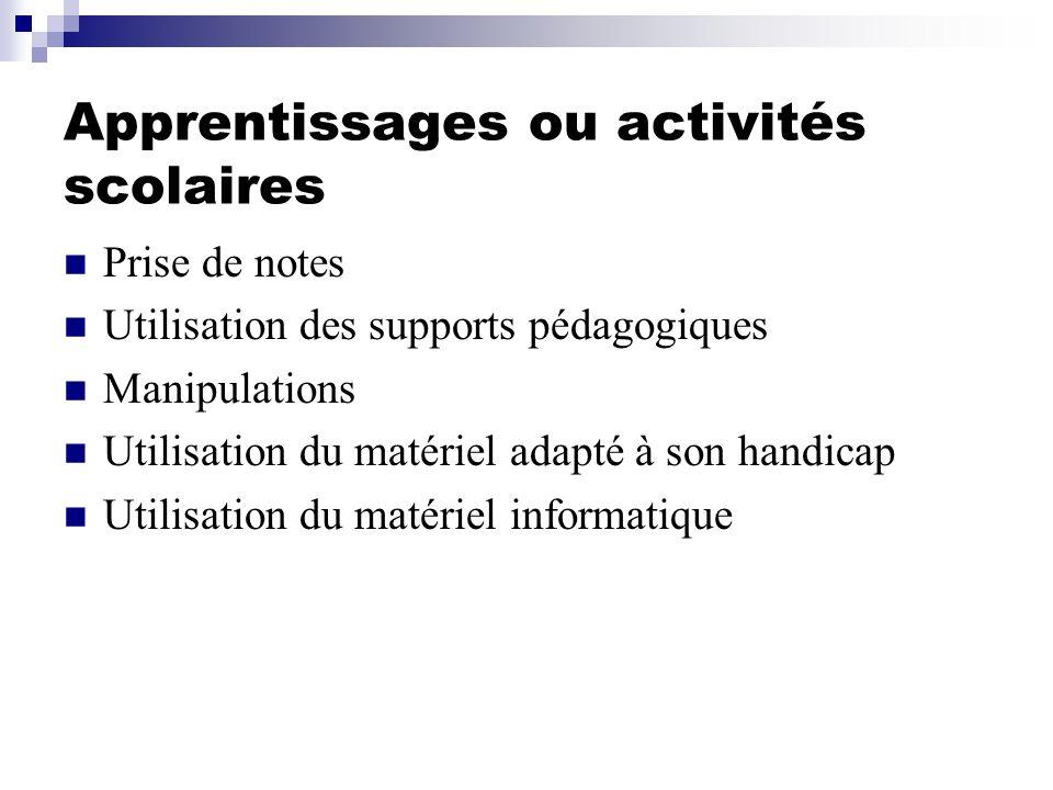 Apprentissages ou activités scolaires Prise de notes Utilisation des supports pédagogiques Manipulations Utilisation du matériel adapté à son handicap
