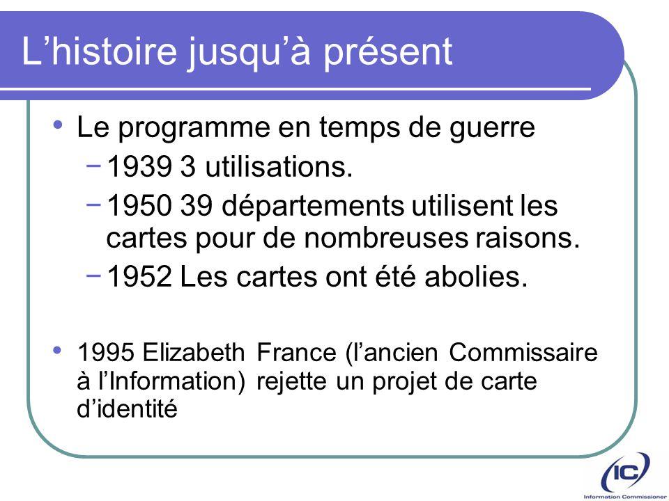 Lhistoire jusquà présent Le programme en temps de guerre 1939 3 utilisations. 1950 39 départements utilisent les cartes pour de nombreuses raisons. 19