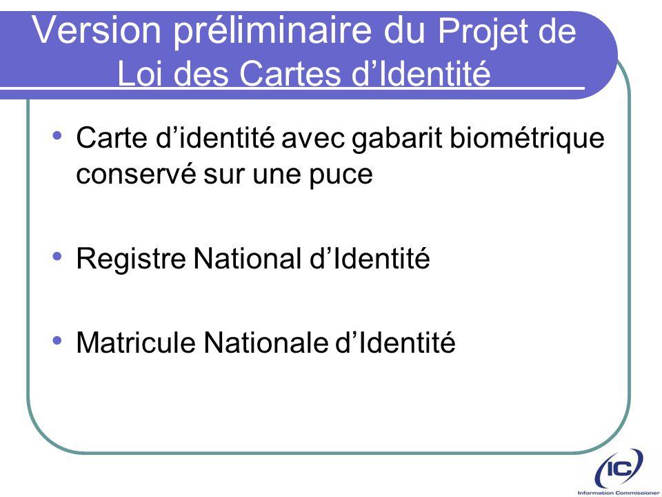 Version préliminaire du Projet de Loi des Cartes dIdentité Carte didentité avec gabarit biométrique conservé sur une puce Registre National dIdentité