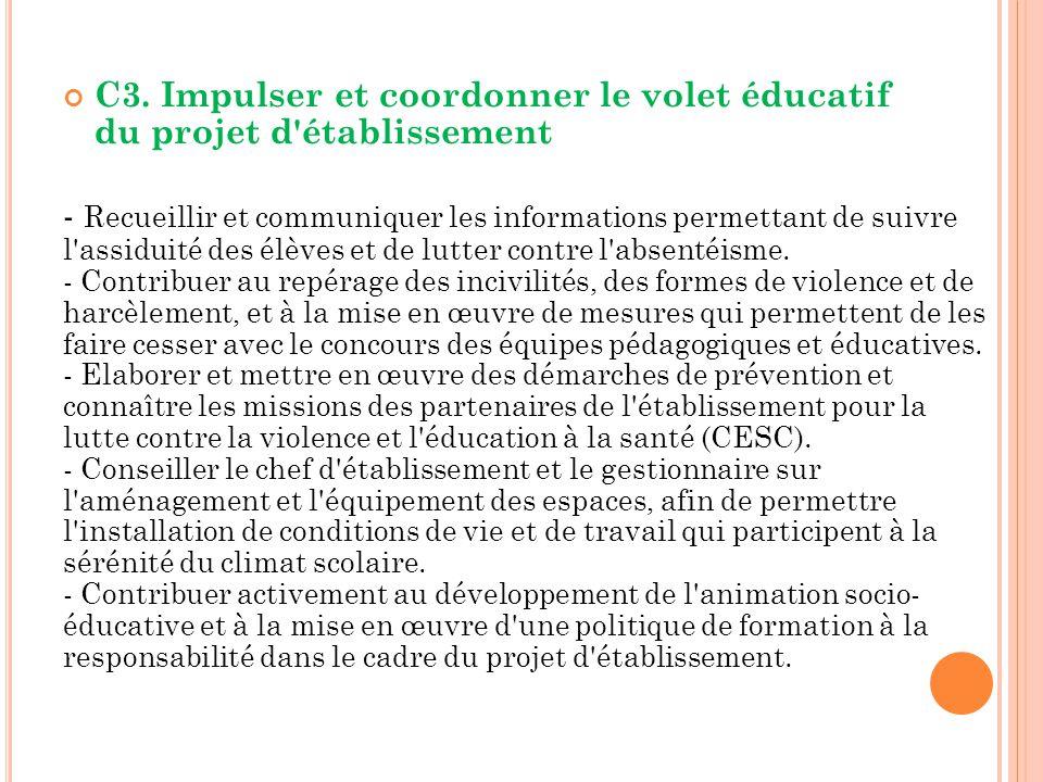 C3. Impulser et coordonner le volet éducatif du projet d'établissement - Recueillir et communiquer les informations permettant de suivre l'assiduité d