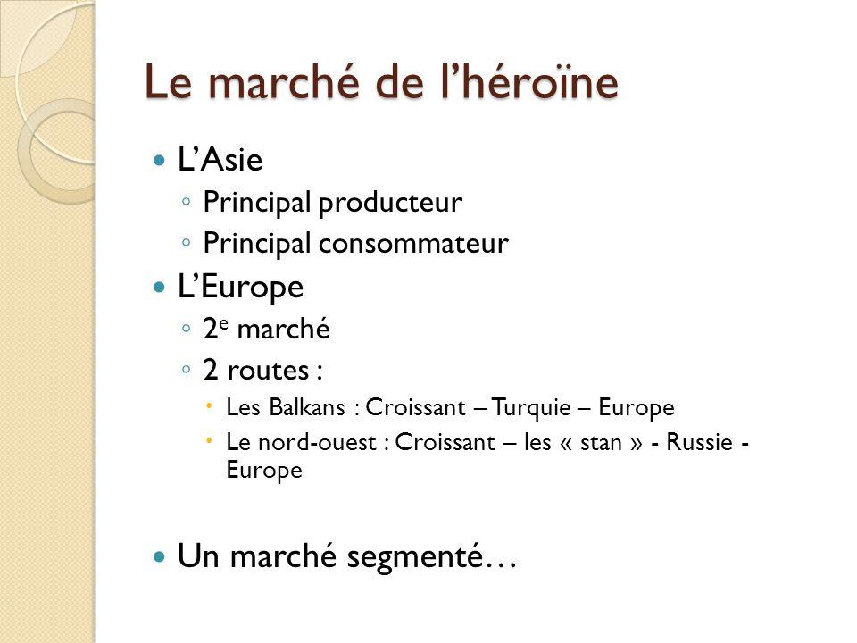Le marché de lhéroïne LAsie Principal producteur Principal consommateur LEurope 2 e marché 2 routes : Les Balkans : Croissant – Turquie – Europe Le no