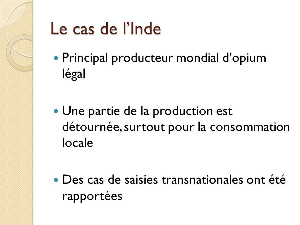Le cas de lInde Principal producteur mondial dopium légal Une partie de la production est détournée, surtout pour la consommation locale Des cas de sa