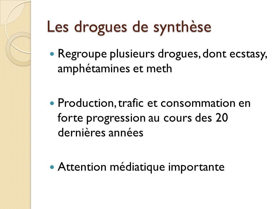 Les drogues de synthèse Regroupe plusieurs drogues, dont ecstasy, amphétamines et meth Production, trafic et consommation en forte progression au cour
