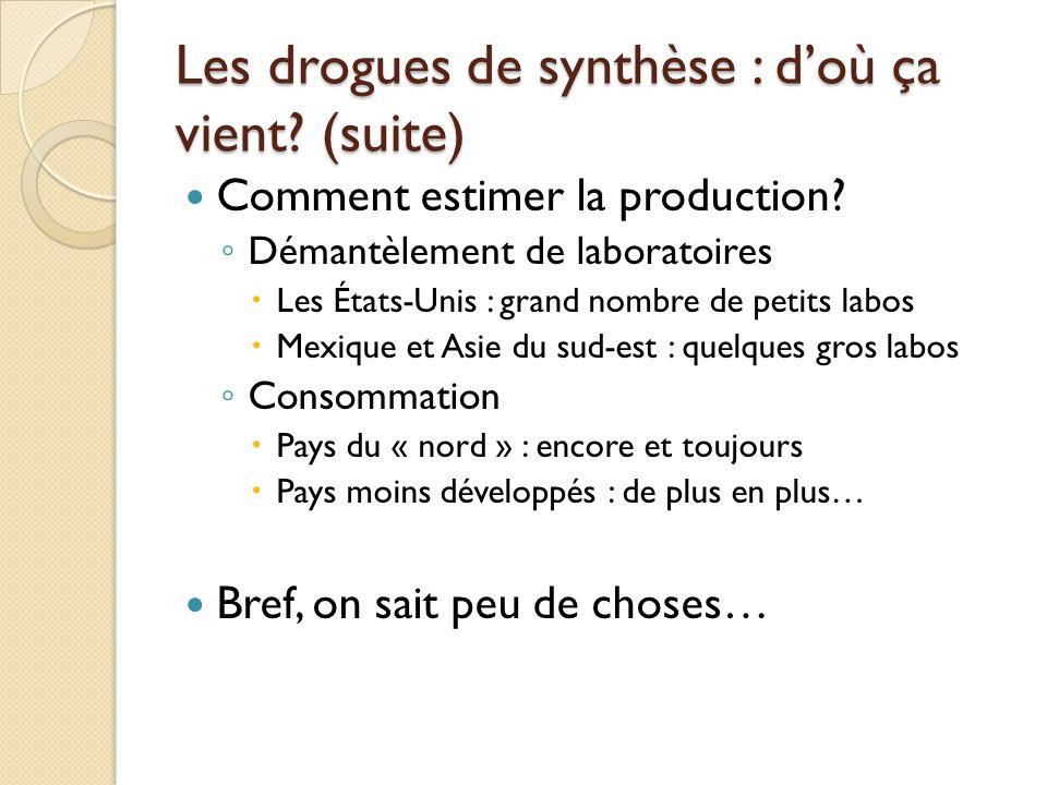 Les drogues de synthèse : doù ça vient? (suite) Comment estimer la production? Démantèlement de laboratoires Les États-Unis : grand nombre de petits l