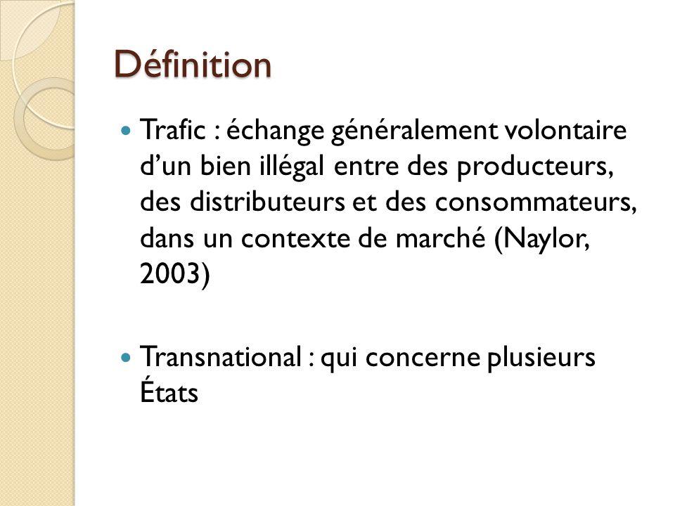 Définition Trafic : échange généralement volontaire dun bien illégal entre des producteurs, des distributeurs et des consommateurs, dans un contexte d