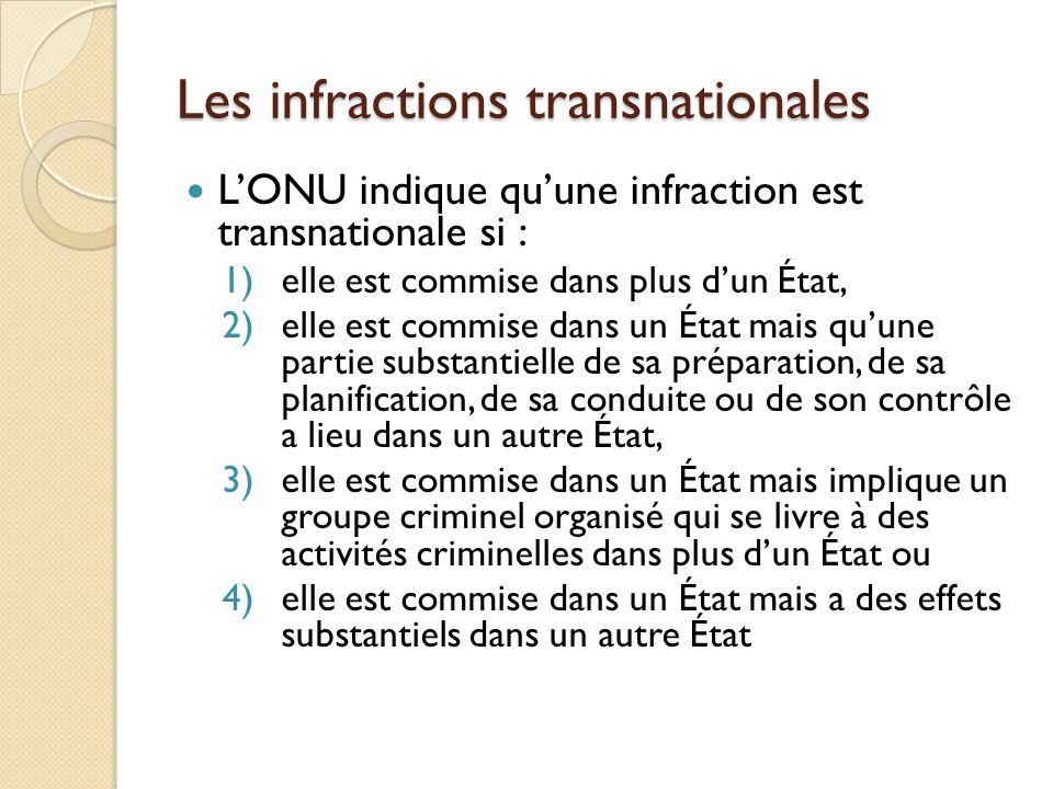 Les infractions transnationales LONU indique quune infraction est transnationale si : 1)elle est commise dans plus dun État, 2)elle est commise dans u