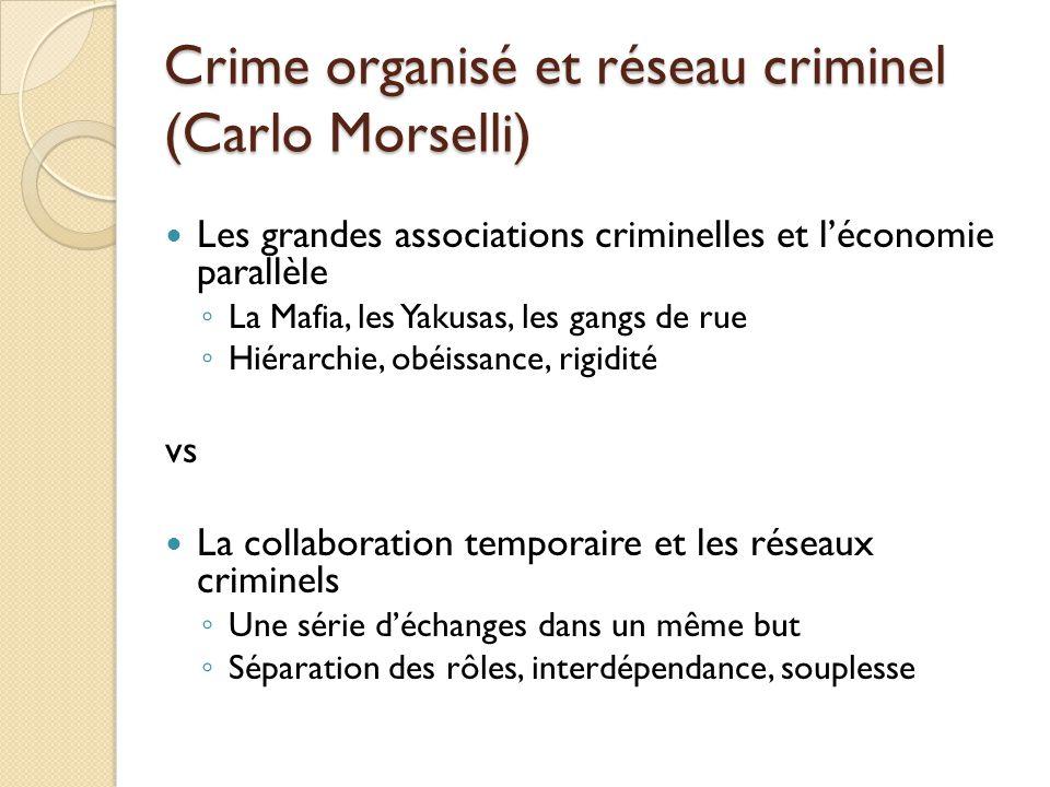Crime organisé et réseau criminel (Carlo Morselli) Les grandes associations criminelles et léconomie parallèle La Mafia, les Yakusas, les gangs de rue