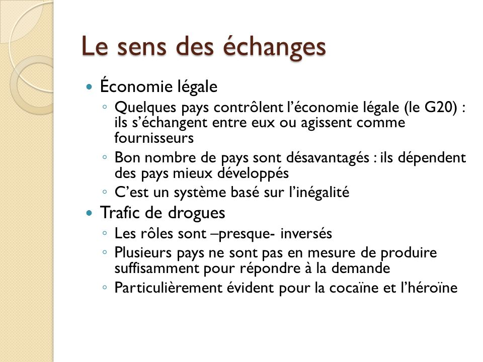Le sens des échanges Économie légale Quelques pays contrôlent léconomie légale (le G20) : ils séchangent entre eux ou agissent comme fournisseurs Bon