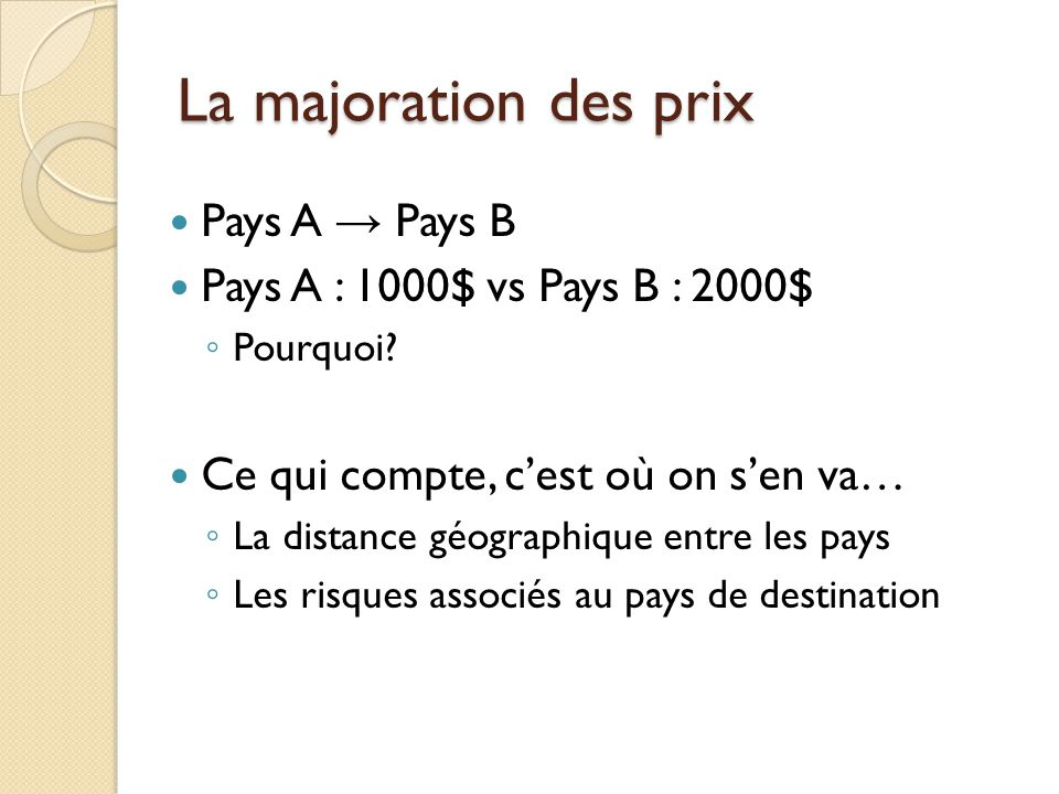 La majoration des prix Pays A Pays B Pays A : 1000$ vs Pays B : 2000$ Pourquoi? Ce qui compte, cest où on sen va… La distance géographique entre les p