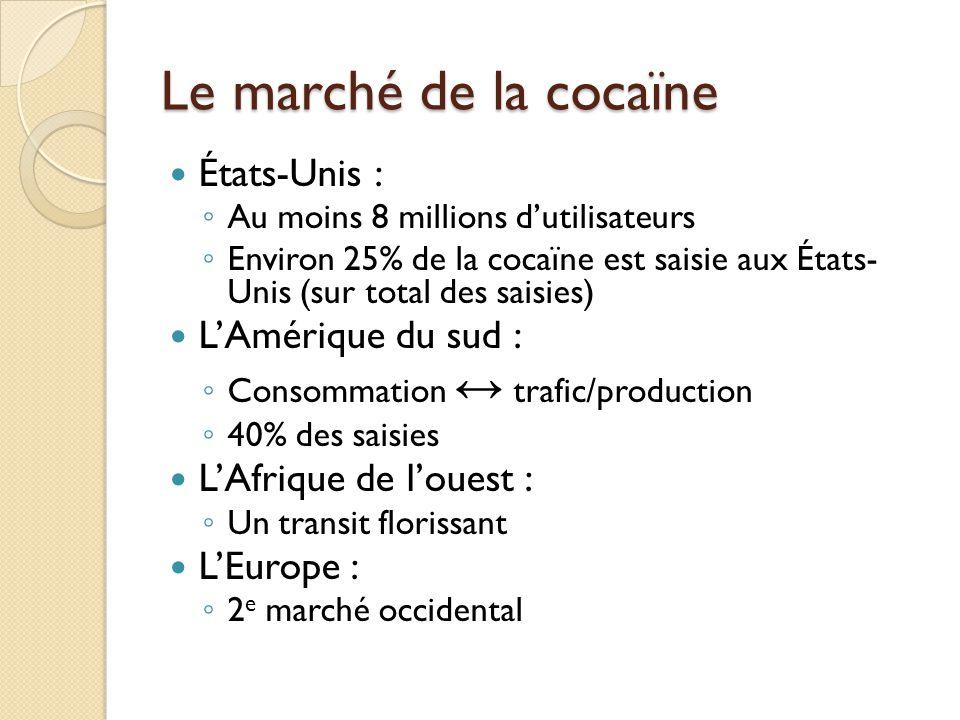 Le marché de la cocaïne États-Unis : Au moins 8 millions dutilisateurs Environ 25% de la cocaïne est saisie aux États- Unis (sur total des saisies) LA