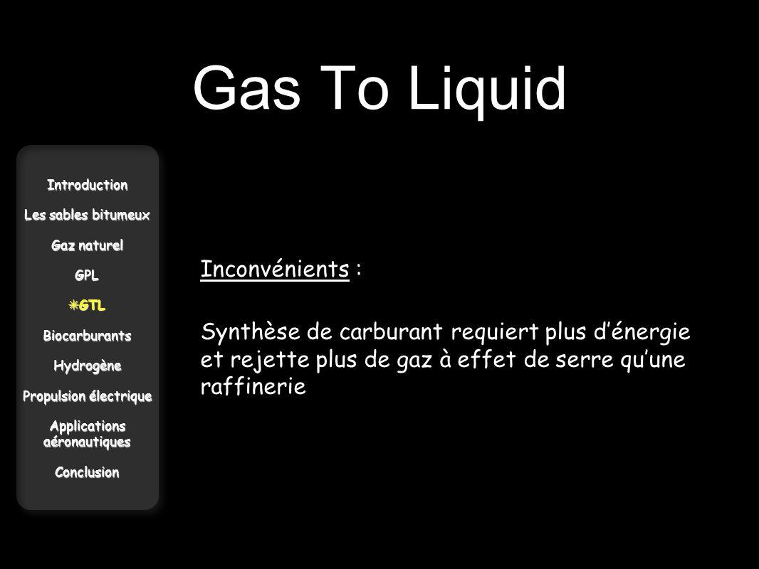 Gas To Liquid Introduction Les sables bitumeux Gaz naturel GPL GTL GTLBiocarburantsHydrogène Propulsion électrique Applications aéronautiques Conclusi