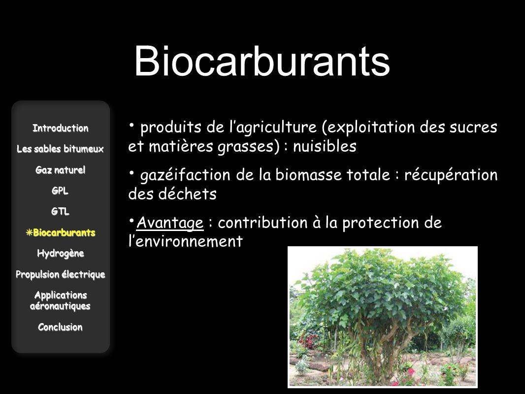 Biocarburants Introduction Les sables bitumeux Gaz naturel GPLGTL Biocarburants BiocarburantsHydrogène Propulsion électrique Applications aéronautique