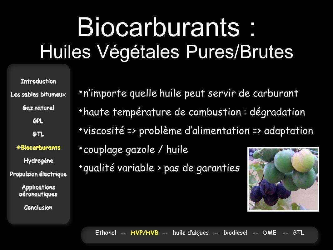 Biocarburants : Huiles Végétales Pures/Brutes Introduction Les sables bitumeux Gaz naturel GPLGTL Biocarburants BiocarburantsHydrogène Propulsion élec