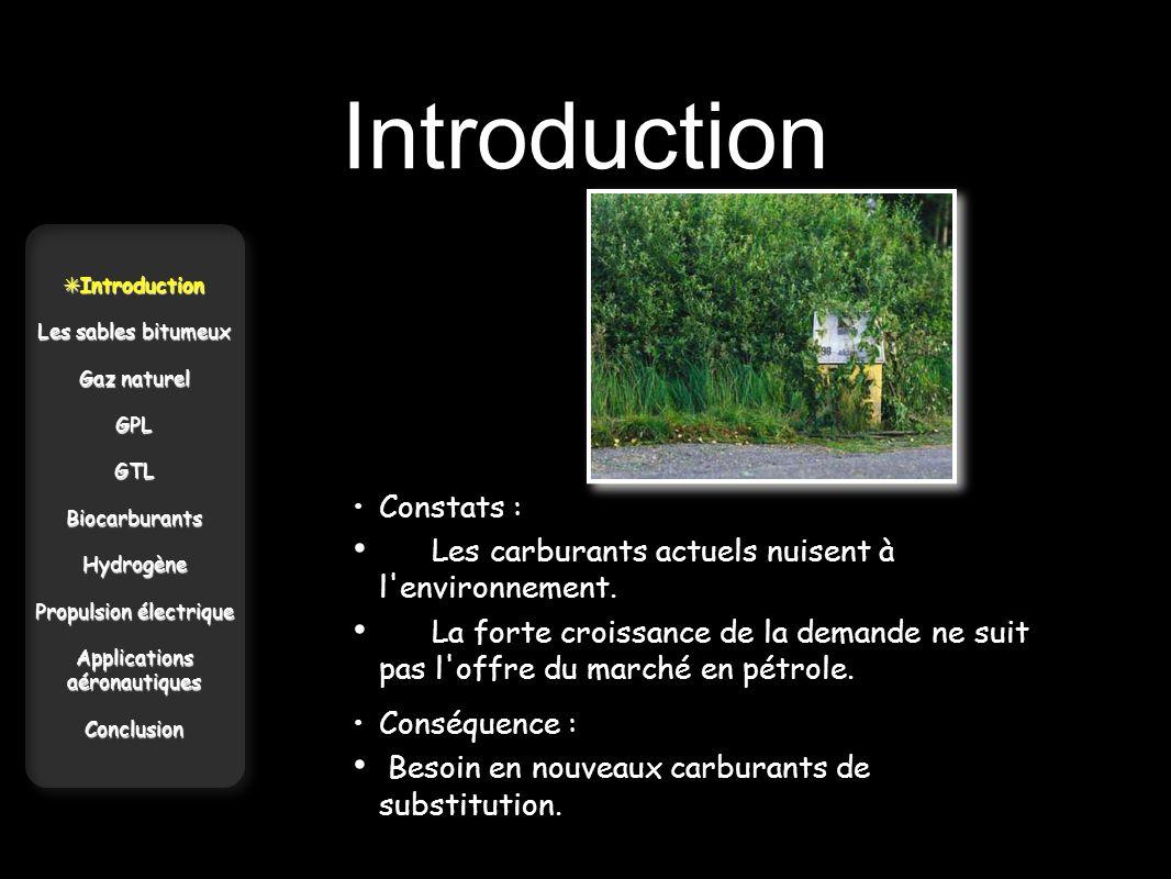 Introduction Introduction Introduction Les sables bitumeux Gaz naturel GPLGTLBiocarburantsHydrogène Propulsion électrique Applications aéronautiques C