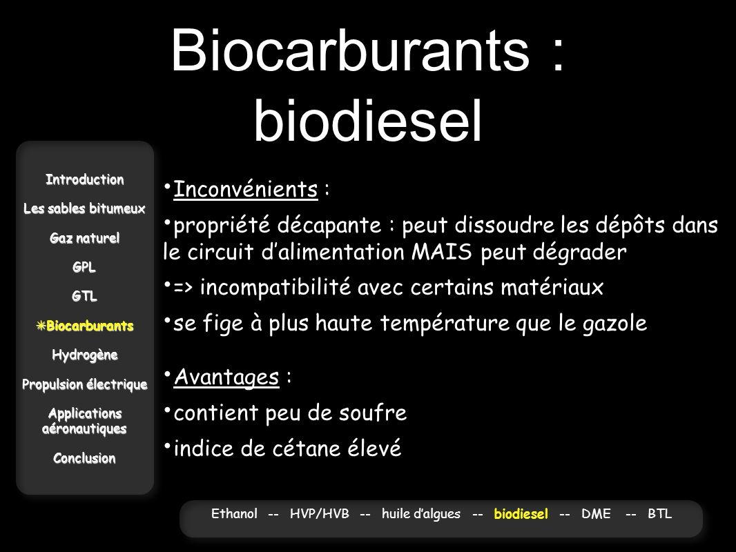 Biocarburants : biodiesel Introduction Les sables bitumeux Gaz naturel GPLGTL Biocarburants BiocarburantsHydrogène Propulsion électrique Applications
