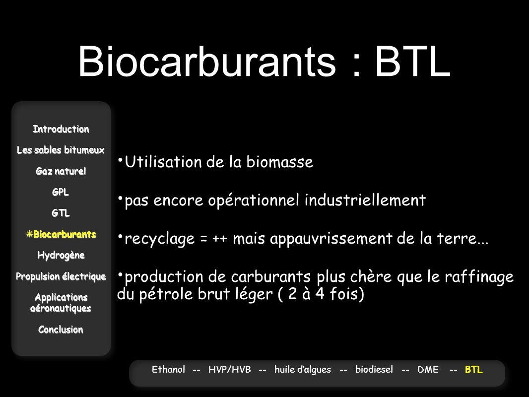 Biocarburants : BTL Introduction Les sables bitumeux Gaz naturel GPLGTL Biocarburants BiocarburantsHydrogène Propulsion électrique Applications aérona