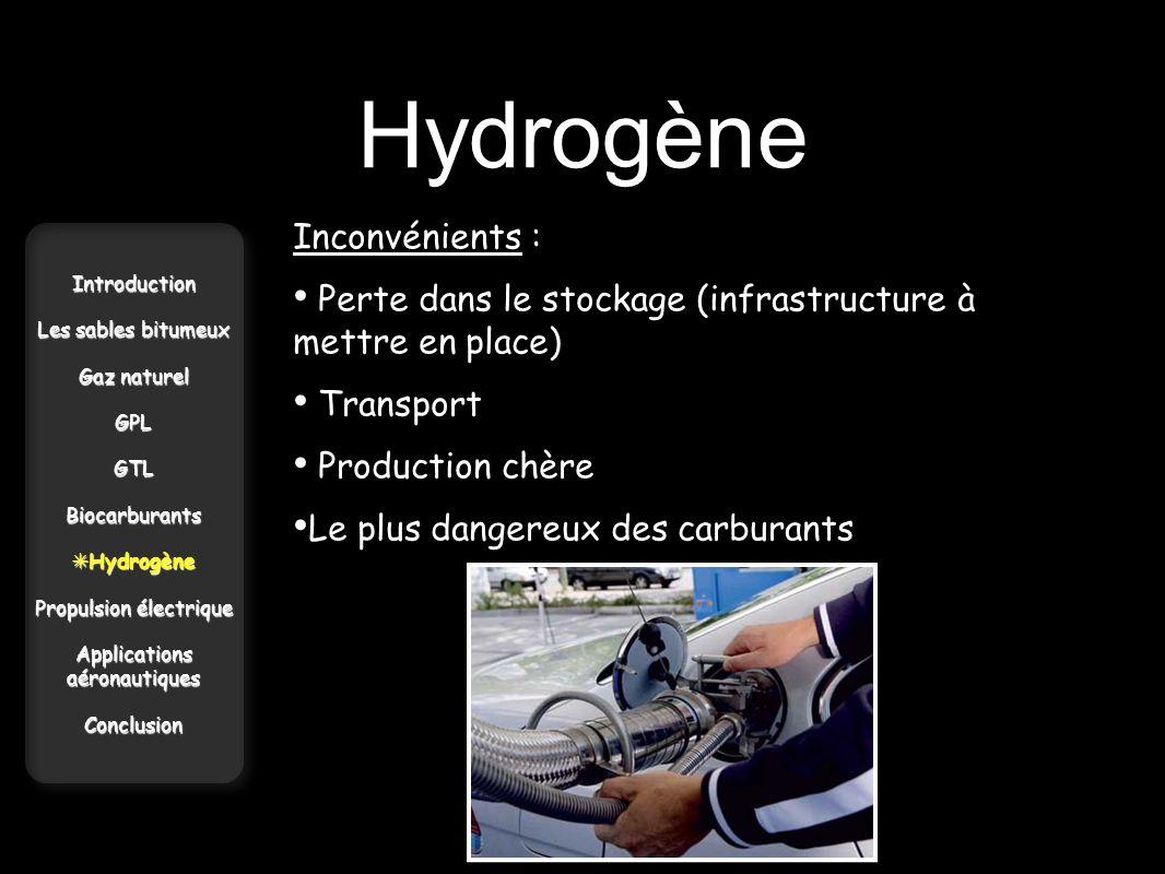 Hydrogène Introduction Les sables bitumeux Gaz naturel GPLGTLBiocarburants Hydrogène Hydrogène Propulsion électrique Applications aéronautiques Conclu