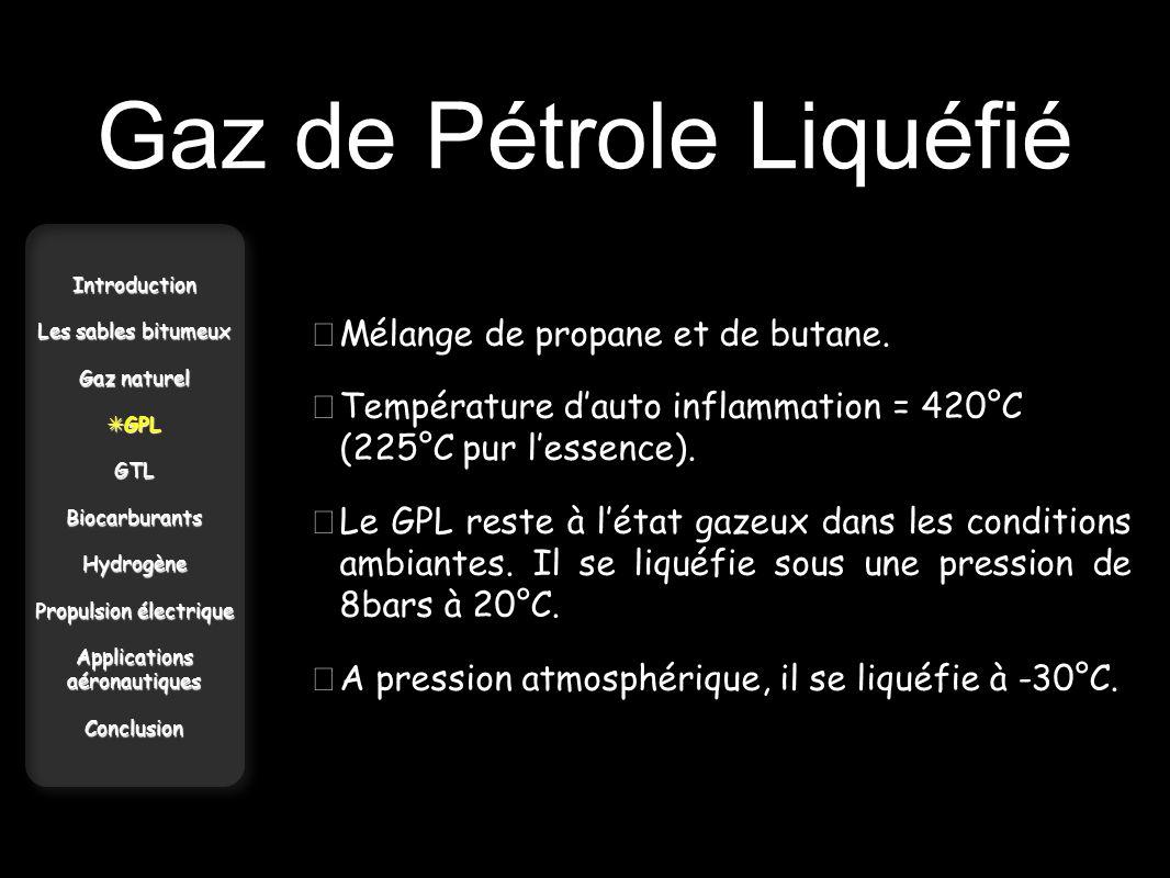 Gaz de Pétrole Liquéfié Introduction Les sables bitumeux Gaz naturel GPL GPLGTLBiocarburantsHydrogène Propulsion électrique Applications aéronautiques