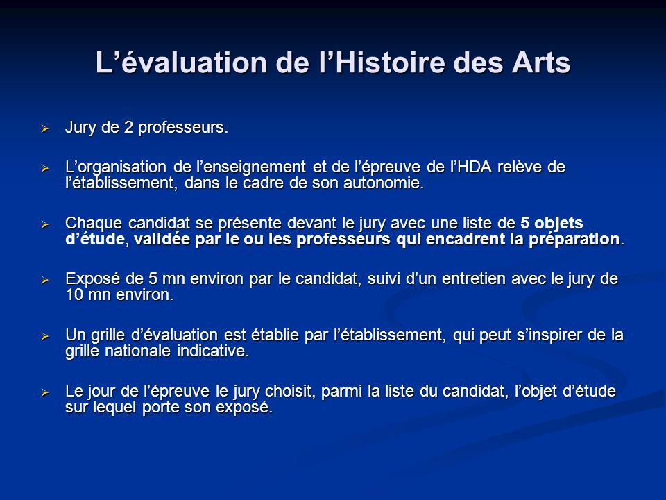 Lévaluation de lHistoire des Arts Jury de 2 professeurs. Jury de 2 professeurs. Lorganisation de lenseignement et de lépreuve de lHDA relève de létabl