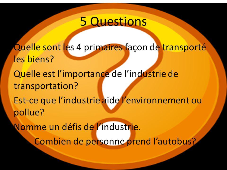 5 Questions Quelle sont les 4 primaires façon de transporté les biens? Quelle est limportance de lindustrie de transportation? Est-ce que lindustrie a