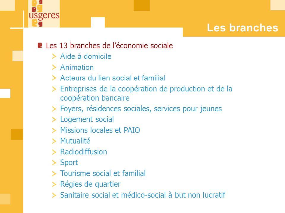 Les branches Les 13 branches de léconomie sociale Aide à domicile Animation Acteurs du lien social et familial Entreprises de la coopération de produc