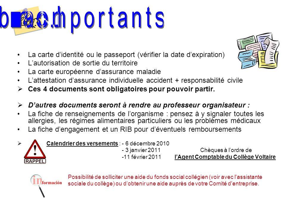 La carte didentité ou le passeport (vérifier la date dexpiration) Lautorisation de sortie du territoire La carte européenne dassurance maladie Lattest