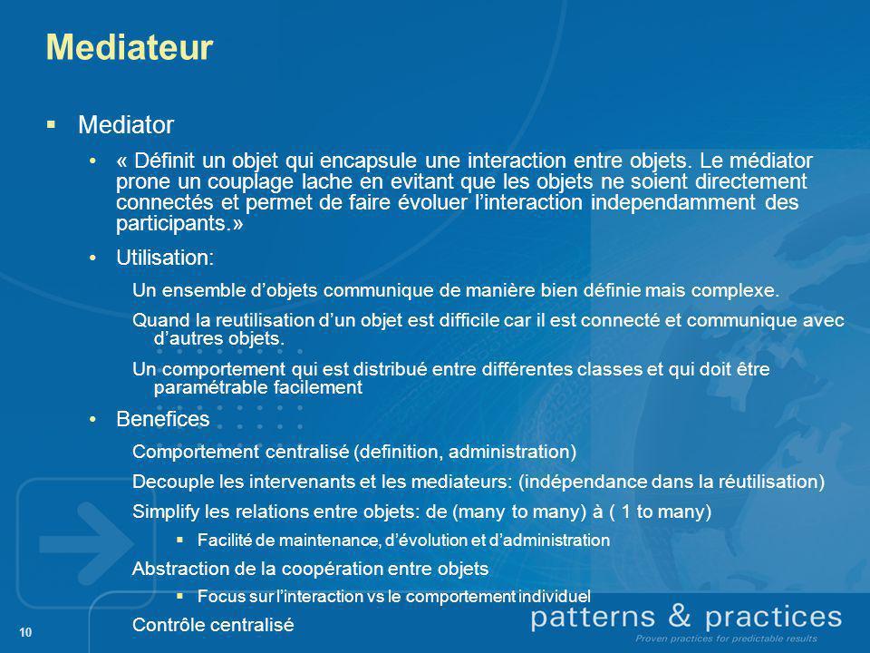 10 Mediateur Mediator « Définit un objet qui encapsule une interaction entre objets. Le médiator prone un couplage lache en evitant que les objets ne